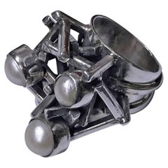 Rachel Gera Israel Abstract Modernist Sterling Ring, circa 1975