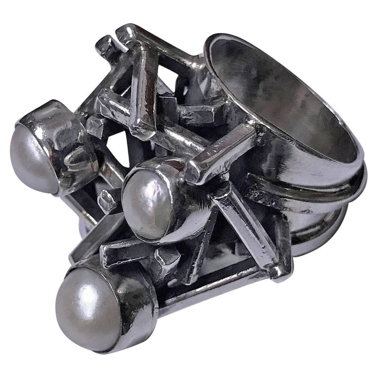 Rachel Gera Israel Abstract Modernist Sterling Ring, circa 1975 For Sale