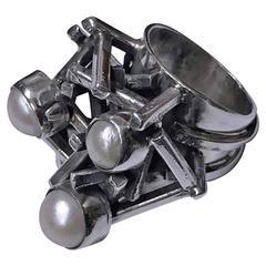 Rachel Gera Israel Abstract Modernist Sterling Ring, circa 1975