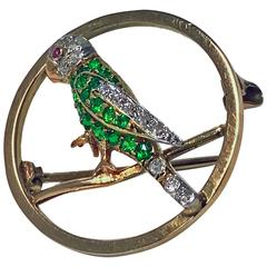 Demantoid, Diamond and Ruby Parrot Pin, circa 1920