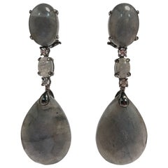 Labradorite and Diamonds Black Gold Chandelier Earrings