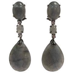 Black Gold Labradorite and Diamonds Chandelier Earrings