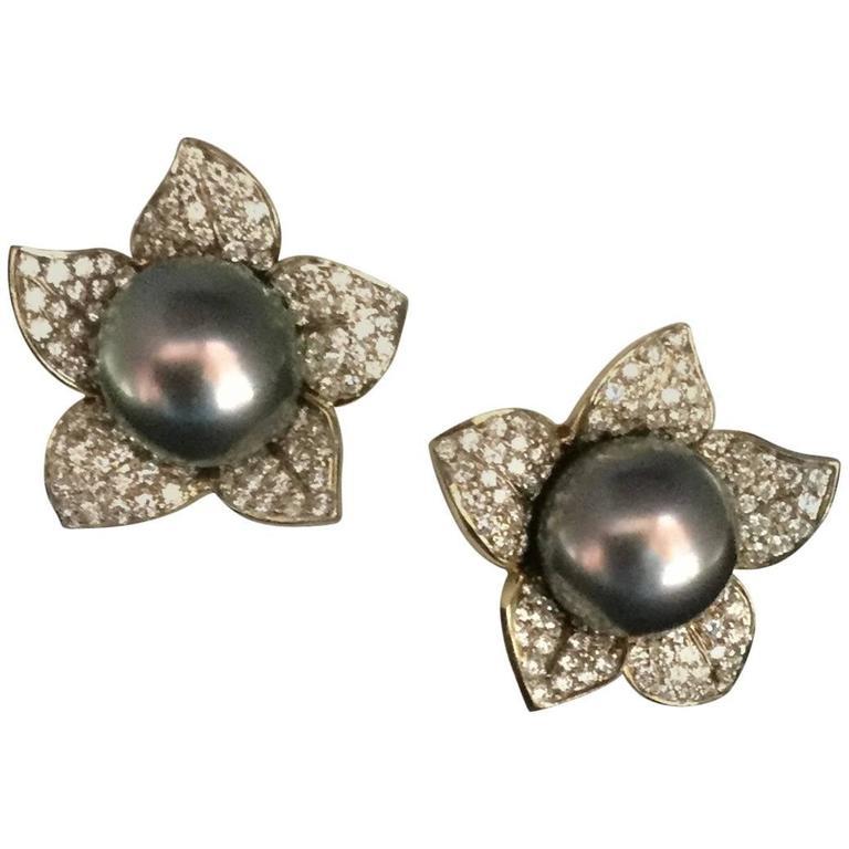 Gumuchian Pistachio Pearl and Diamond Gold Earrings