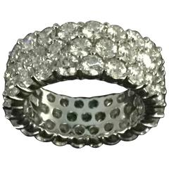 Diamond Platinum 3 row band Ring