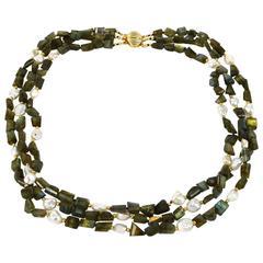 Labradorite Freshwater Keshi Pearl Necklace