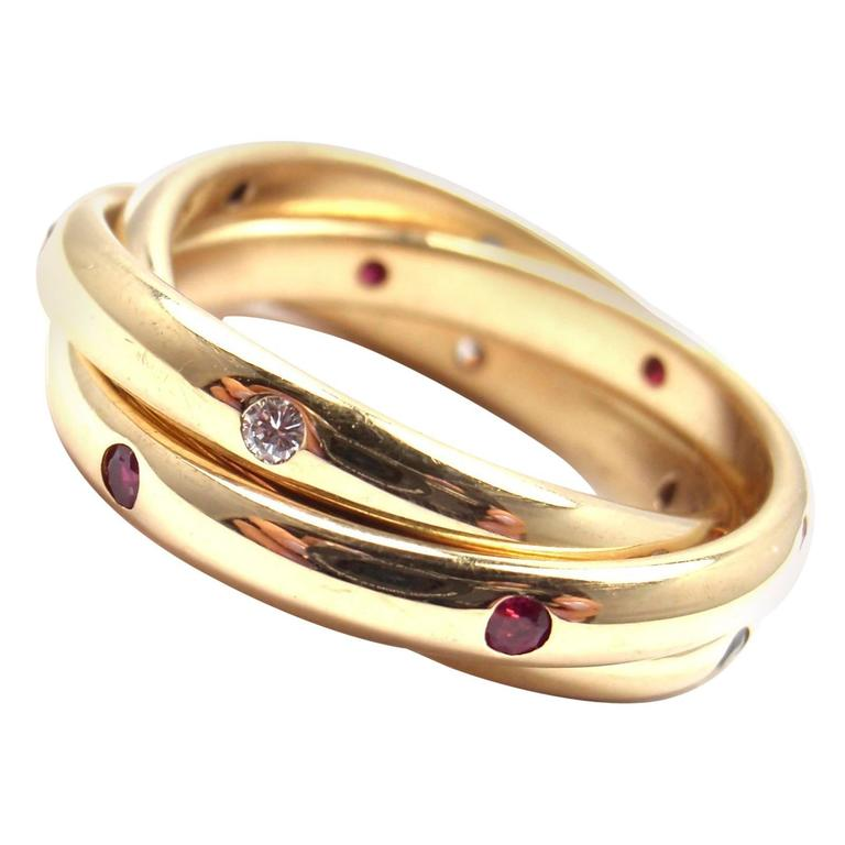 Cartier Trinity Ruby Sapphire Diamond Yellow Gold Band Ring 1