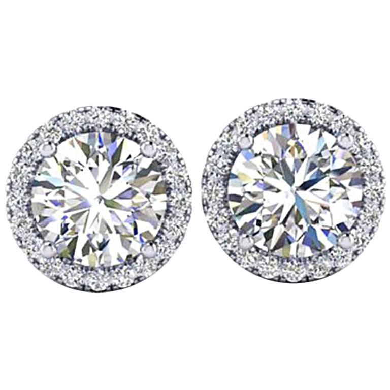 Ferrucci GIA Certified 2.15 Carat Diamond Platinum Halo Stud Earrings