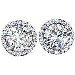 Ferrucci GIA Certified 2.15 Carat Diamond Platinum Halo Stud Earrings