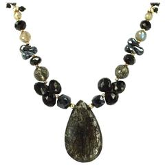 Rutile Quartz Labradorite and Spinel Necklace