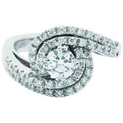 Ferrucci Diamond White Gold Twisted Ring