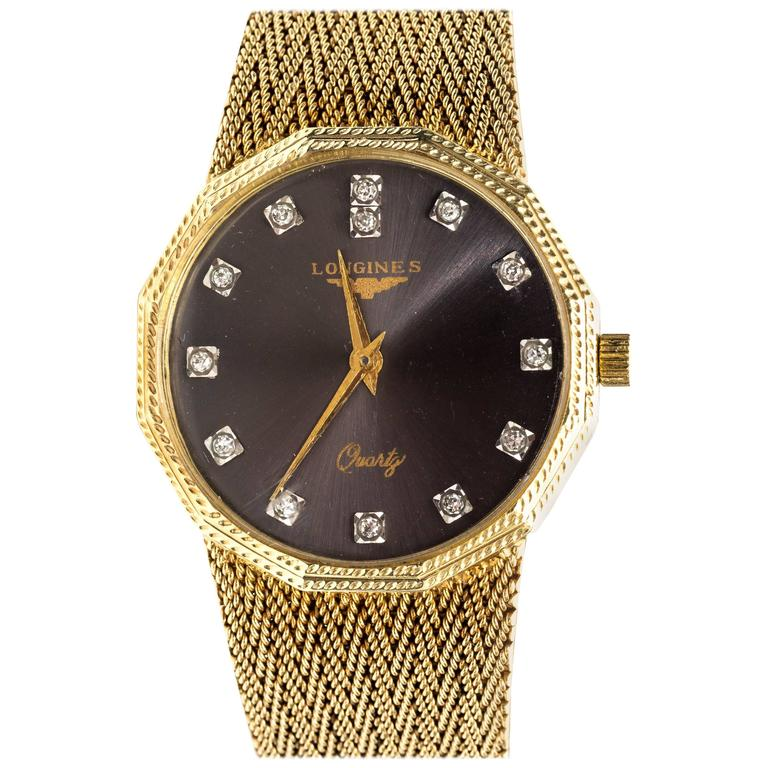 Longines Yellow Gold Diamond Wristwatch, circa 1960