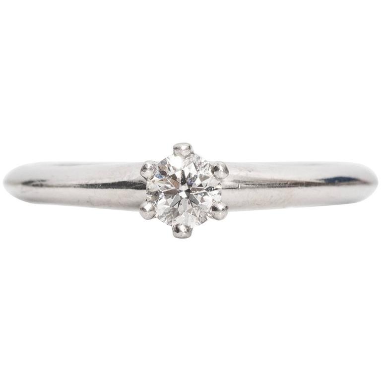 1990s Tiffany & Co. Diamond Platinum Solitaire Ring