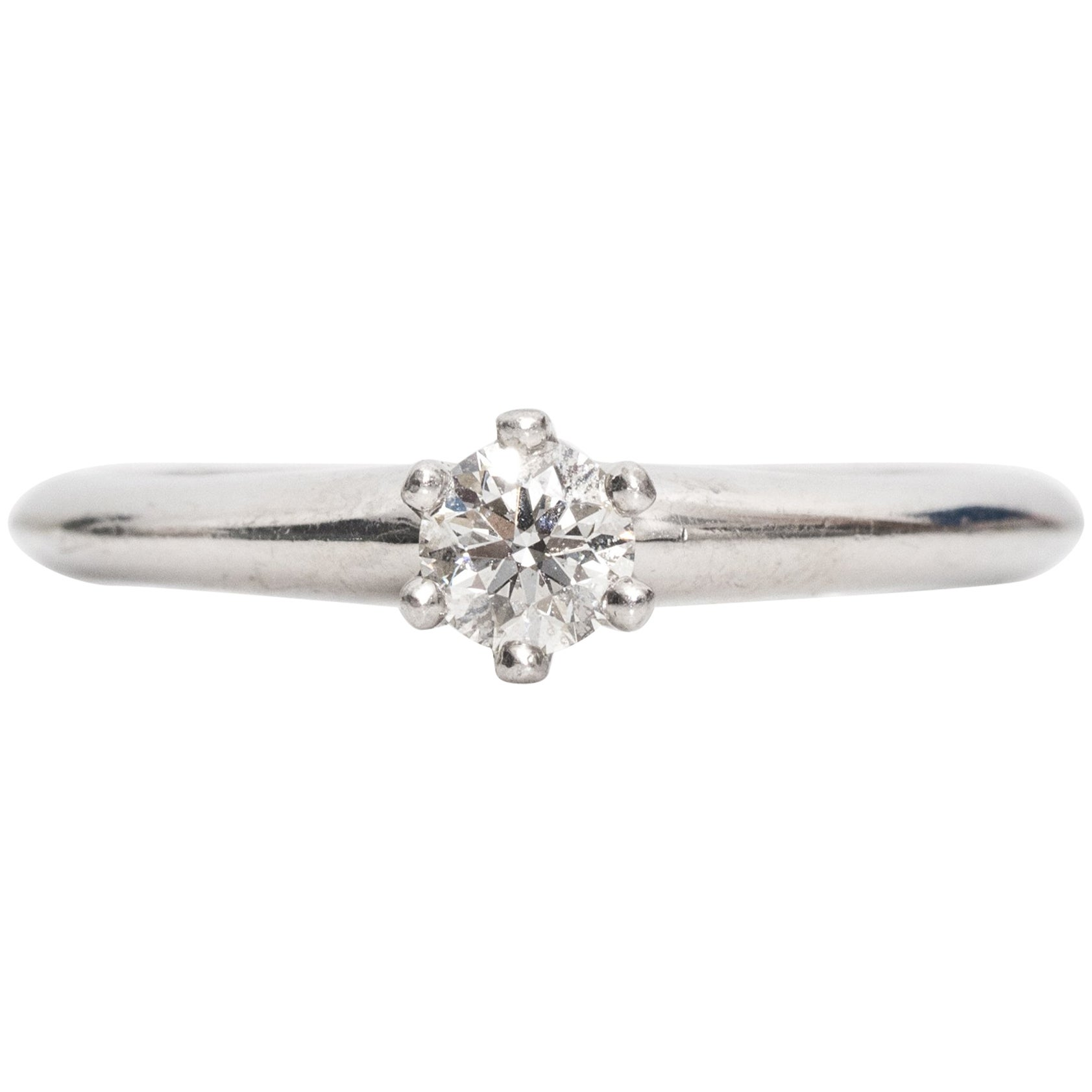 1990s Tiffany & Co. Diamond Platinum Solitaire Ring