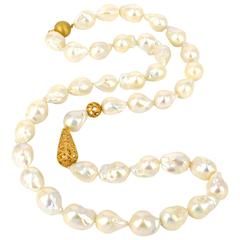 18 Karat Gold Beads Freshwater Baroque Pearls Long Necklace