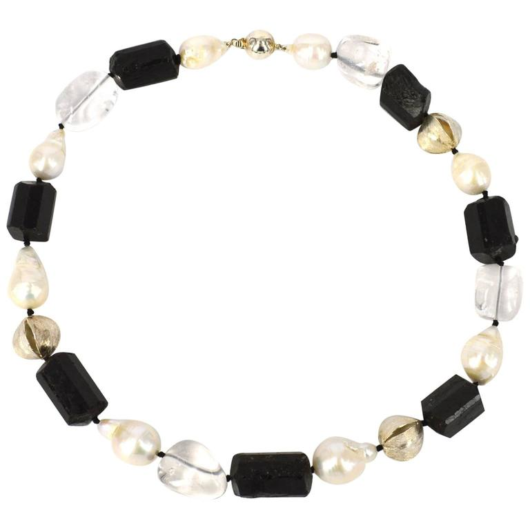 Black Tourmaline Clear Quartz Pearl Silver Necklace