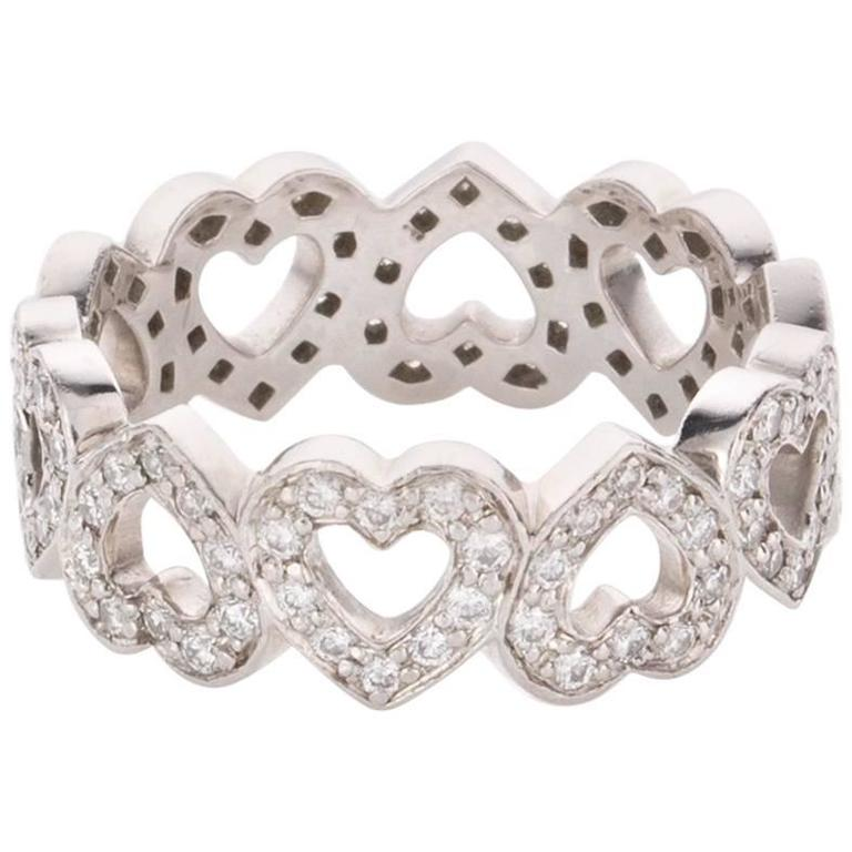 Tiffany And Co Diamond Platinum Open Heart Motif Band