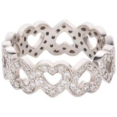 Tiffany & Co. Diamond Platinum Open Heart Motif Band Ring