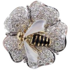 Gold Diamond Mother-of-Pearl Ring
