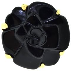 Chanel Camellia Camelia Carved Black Onyx Flower Ring in 18 Karat Yellow Gold