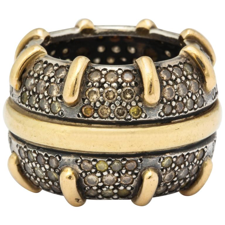 Marilyn Cooperman Wide Champagne Diamond Band Ring
