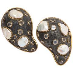 Marilyn Cooperman Pair of Pearl and Moonstone Paisley Pins