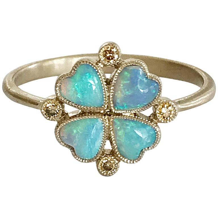 Dalben Opal Diamond and Gold Four-Leaf Clover Little Ring For Sale