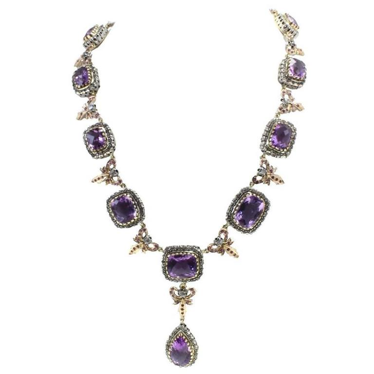 Luise Gold Silver Diamonds Amethyst Drop Necklace