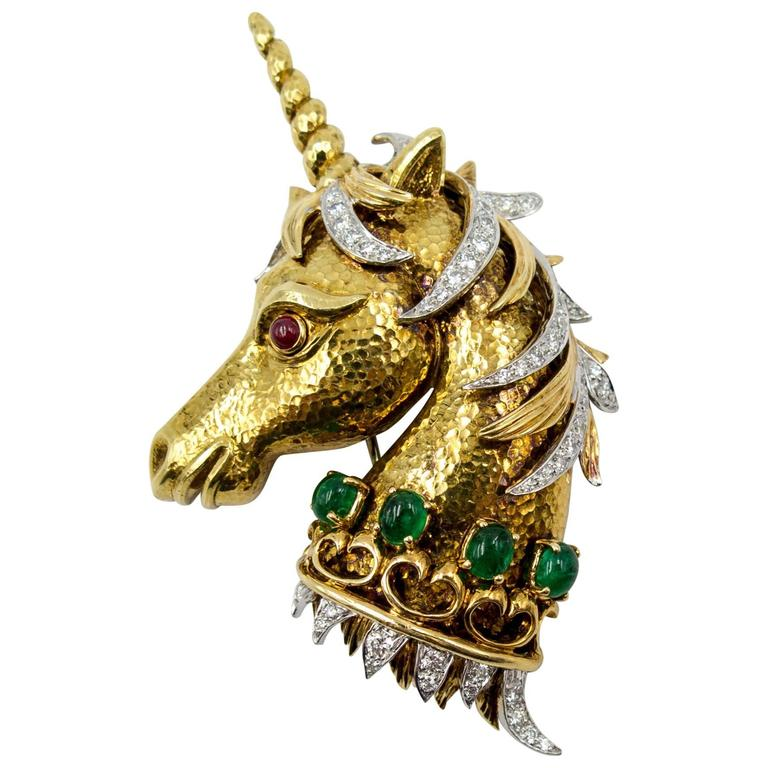Whimsical David Webb Gold Diamond Emerald Ruby Unicorn Pin For Sale