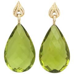 Impressive Faceted Green Amber Diamond and Gold Drop Earrings by Michael Kanners
