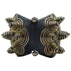 Marilyn F. Cooperman Unique Silver Gold Diamond Cuff Bracelet