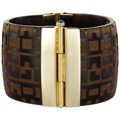 Fouche Bespoke Horn Emerald Ruby Sapphire Engraved Cuff Bracelet