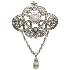 Impressive English Victorian Paste Silver Escutcheon Design Brooch