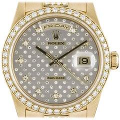 Rolex Yellow Gold Diamond Dial Diamond Set Rare Pleiade Day-Date Wristwatch