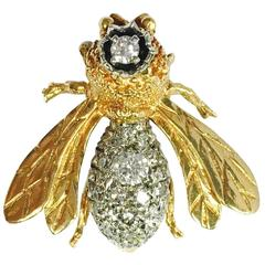 Queen Bee Diamond and Gold Brooch Pin