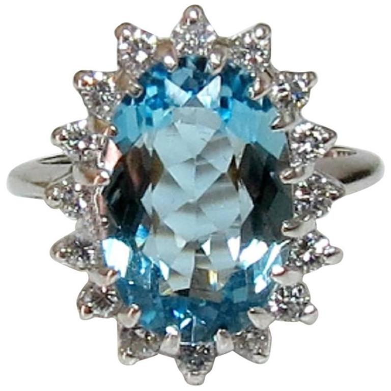Aquamarine Diamond Halo White Gold Ring For Sale