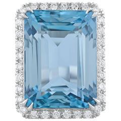 19.44 Carat Emerald-Cut Aquamarine Diamond Platinum Ring