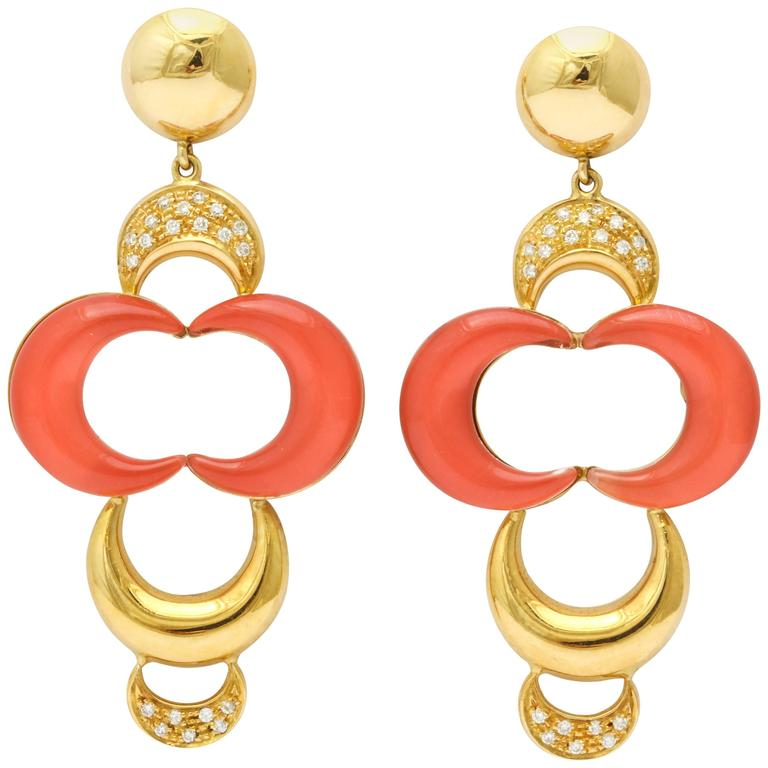 Faraone Mennella Gonzaga Coral Diamond Gold Earrings
