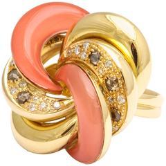 Faraone Mennella Roselline Coral Diamond Gold Ring