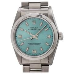 Rolex Stainless Steel Oyster Perpetual Ice Blue Wristwatch Ref 77080