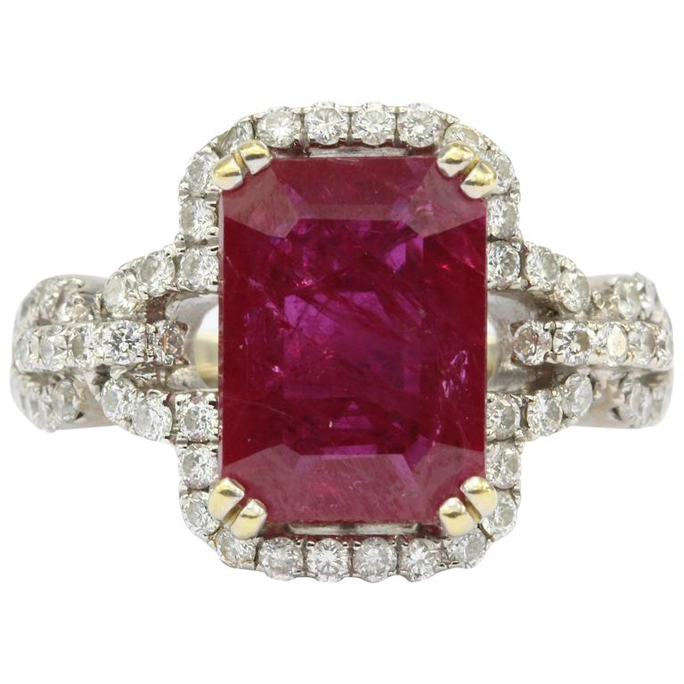 4.5 Carat GIA Ruby in White Gold with Diamond Setting Engagement Ring