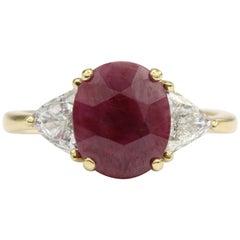 GIA Certified 2.75 Carat Burma Ruby Diamond Ring