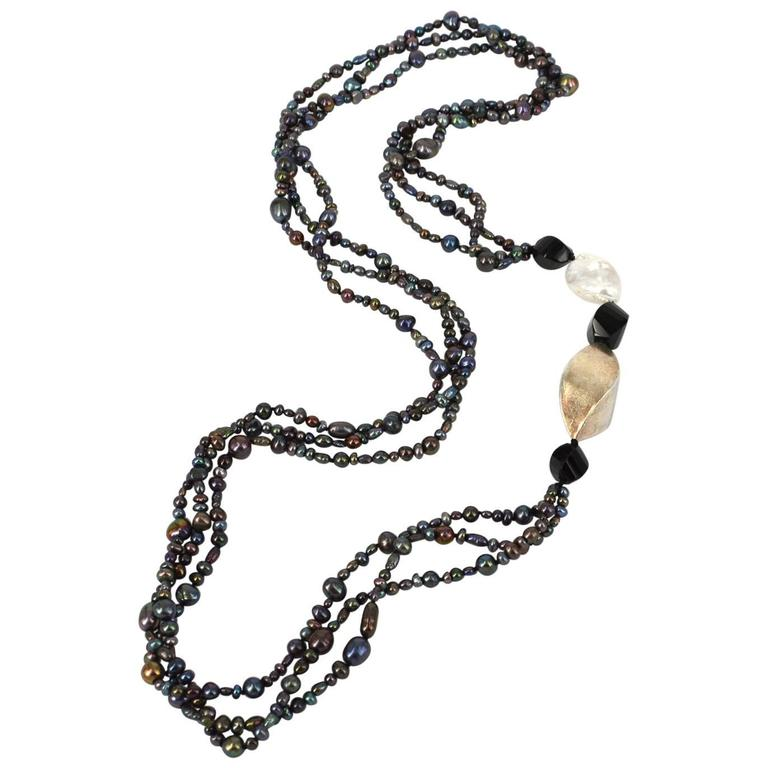 Freshwater Pearl Onyx Sterling Silver Long Necklace