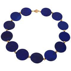 Natural Lapis Lazuli Disk Necklace