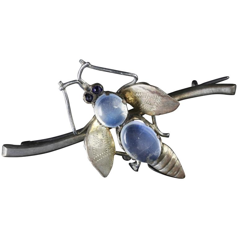 Antique Victorian Moonstone Silver Bug Brooch, circa 1900