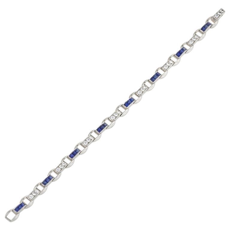Oscar Heyman Diamond Sapphire Platinum Bracelet For Sale