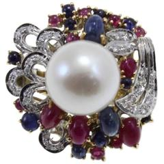 Luise Gold Diamond Sapphire Ruby Pearl Cluster Ring