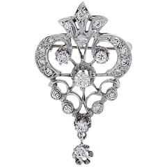 0.50 Carats Diamond White Gold Pin and Pendant