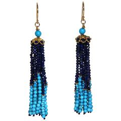Marina J Turquoise and Lapis Tassel Earrings