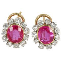 Beautiful Burmese Pink Sapphire Diamond White and Yellow Gold Earrings
