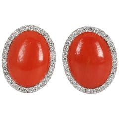 Elegant Coral and Diamond White Gold Earrings